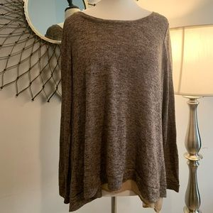 Larry Levine tan split back sweater